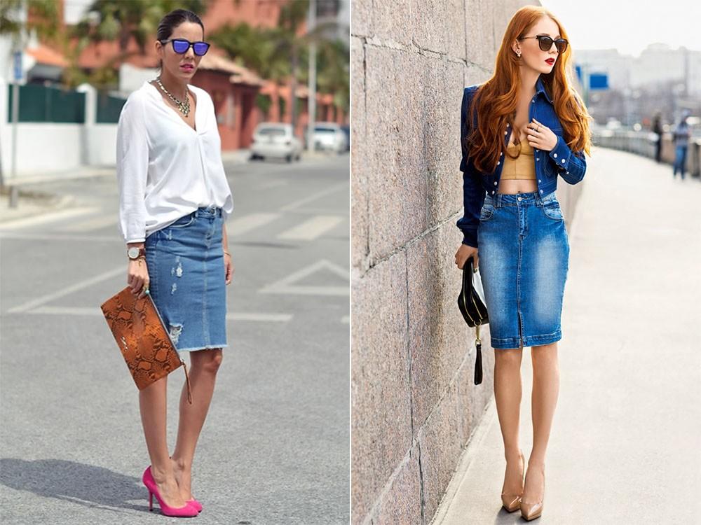 Короткая белая джинсовая юбка