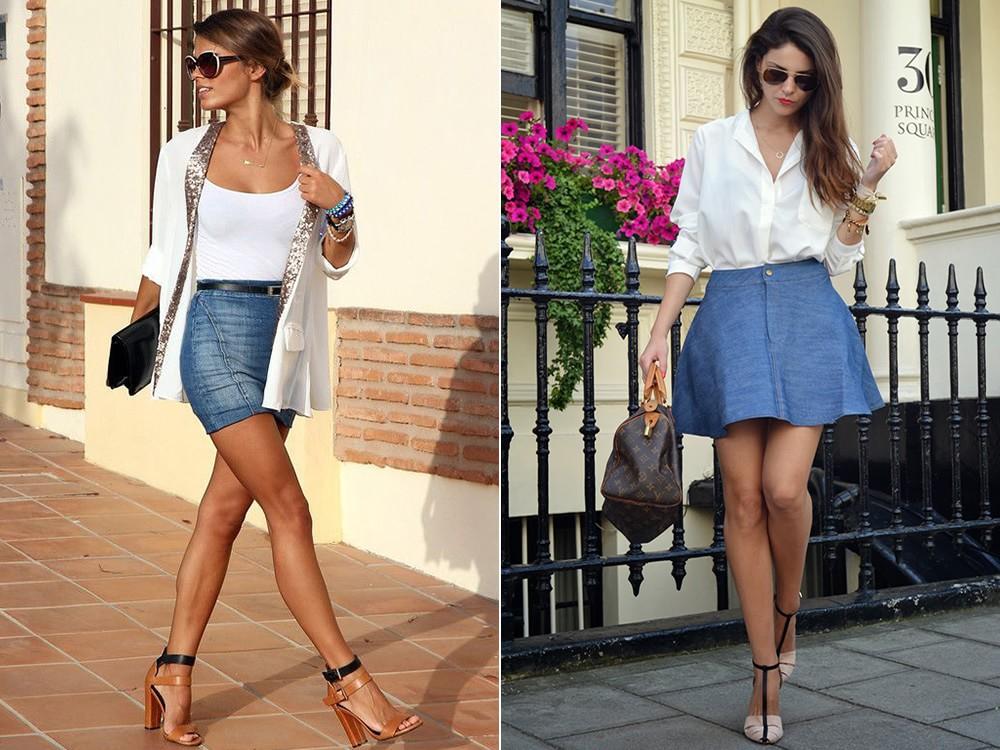 С чем носить джинсовую мини юбку