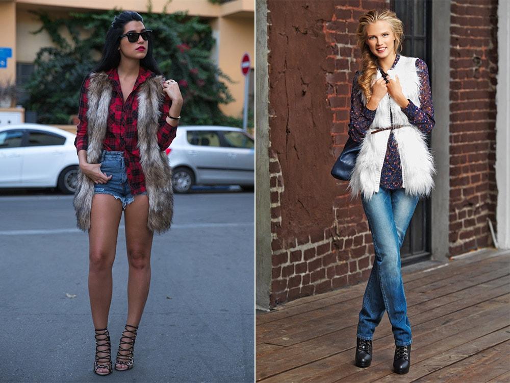 Сочетание меховой жилетки и джинсов