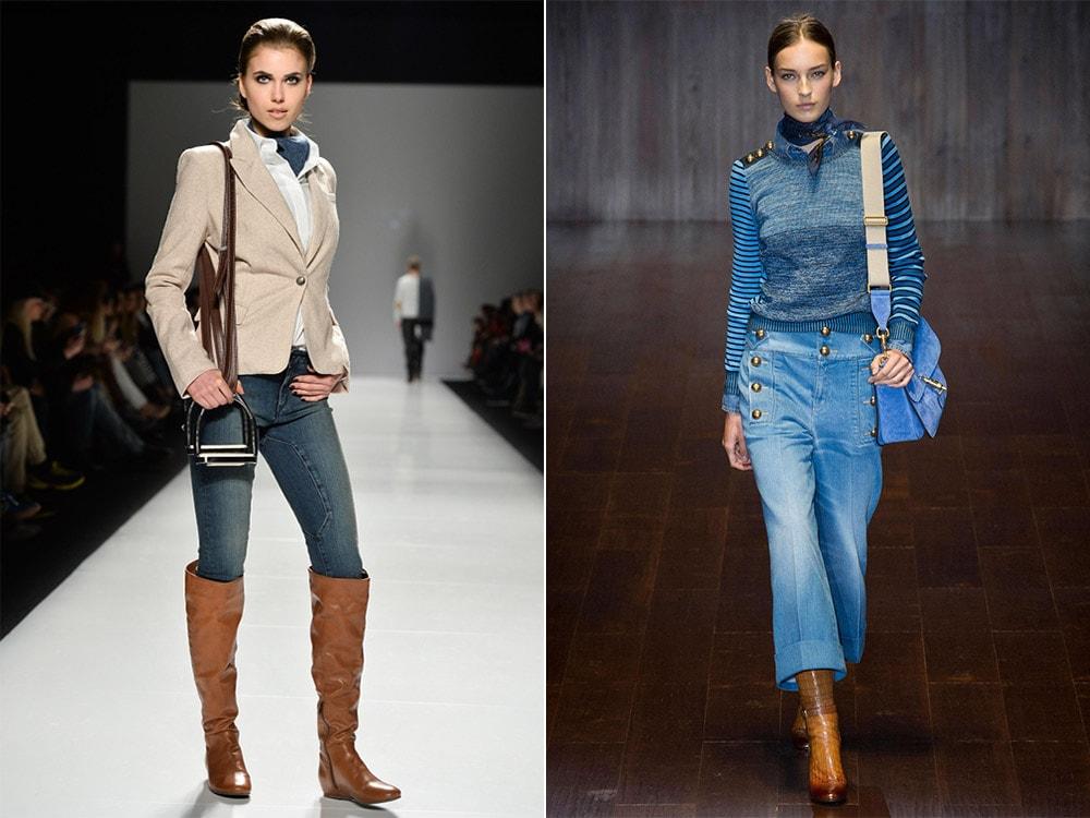 Коричневые сапоги и джинсы