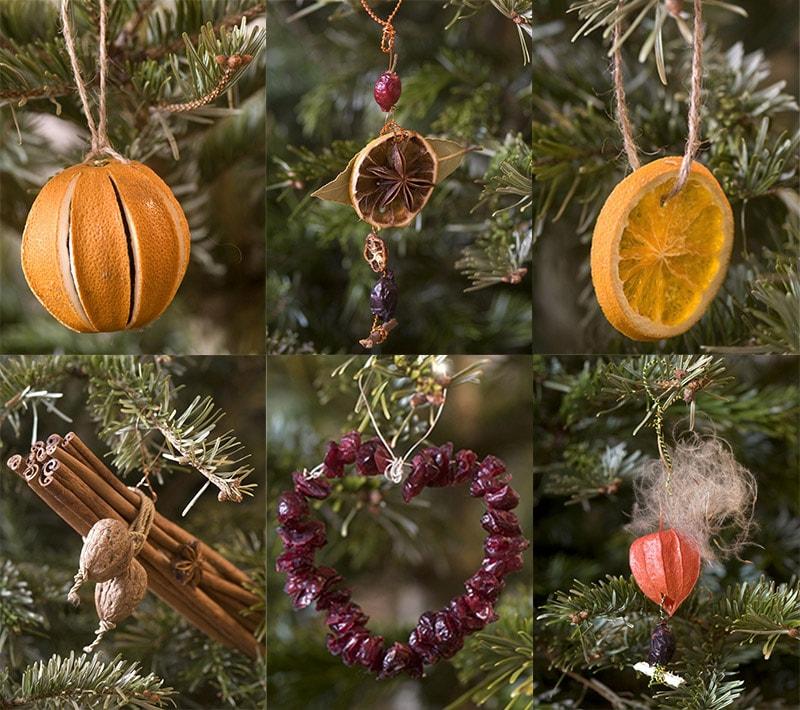Игрушки на елку из фруктов и сухофруктов