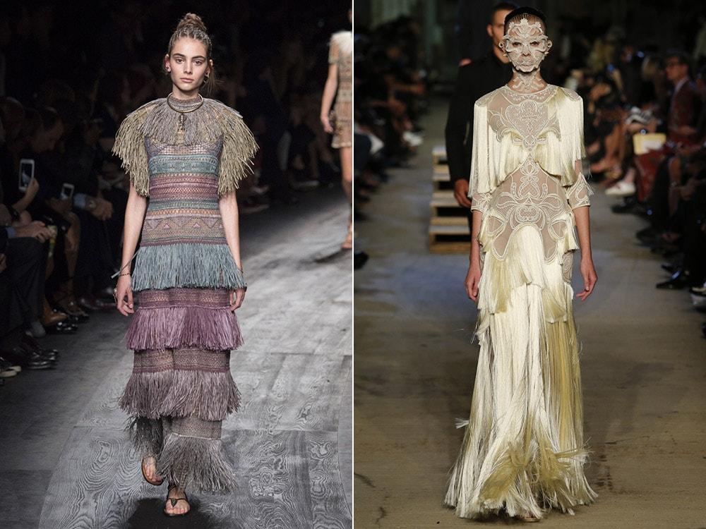 Платья с бахромой: Valentino. Givenchy