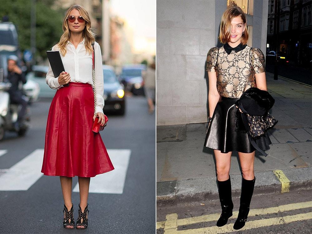 С чем носить кожаную юбку-солнце