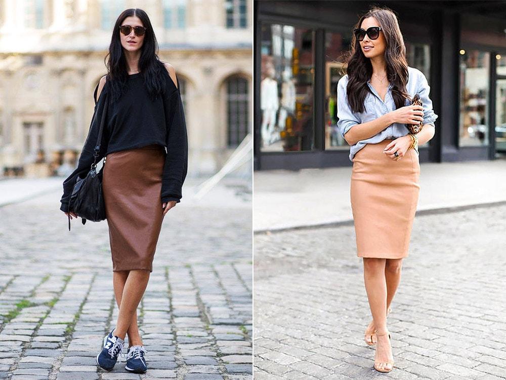 С чем носить кожаную юбку - стиль street-style