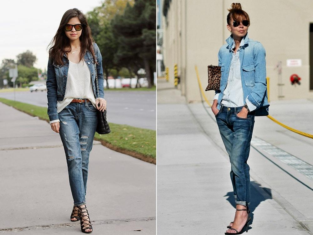 Джинсы бойфренды с джинсовкой