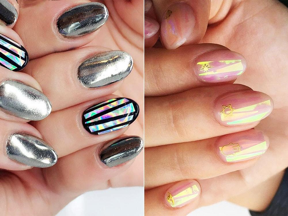 Дизайн ногтей гель-лаком битое стекло
