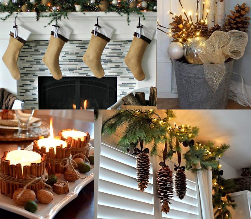 Новогоднее оформление свечами и фонариками