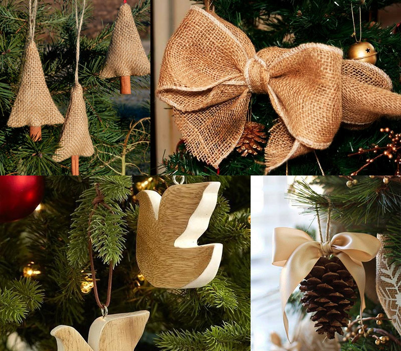 Украшение елки на Новый год в эко-стиле