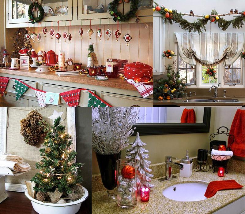 Украшение кухни и ванной комнаты на Новый год