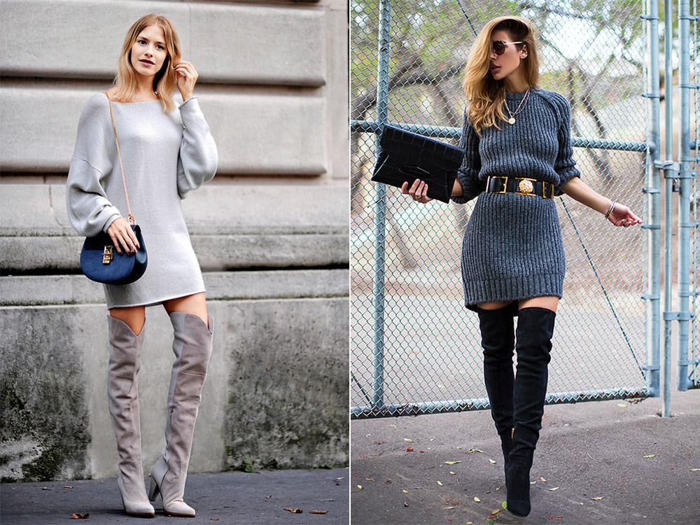 Ботфорты на каблуке с платьем