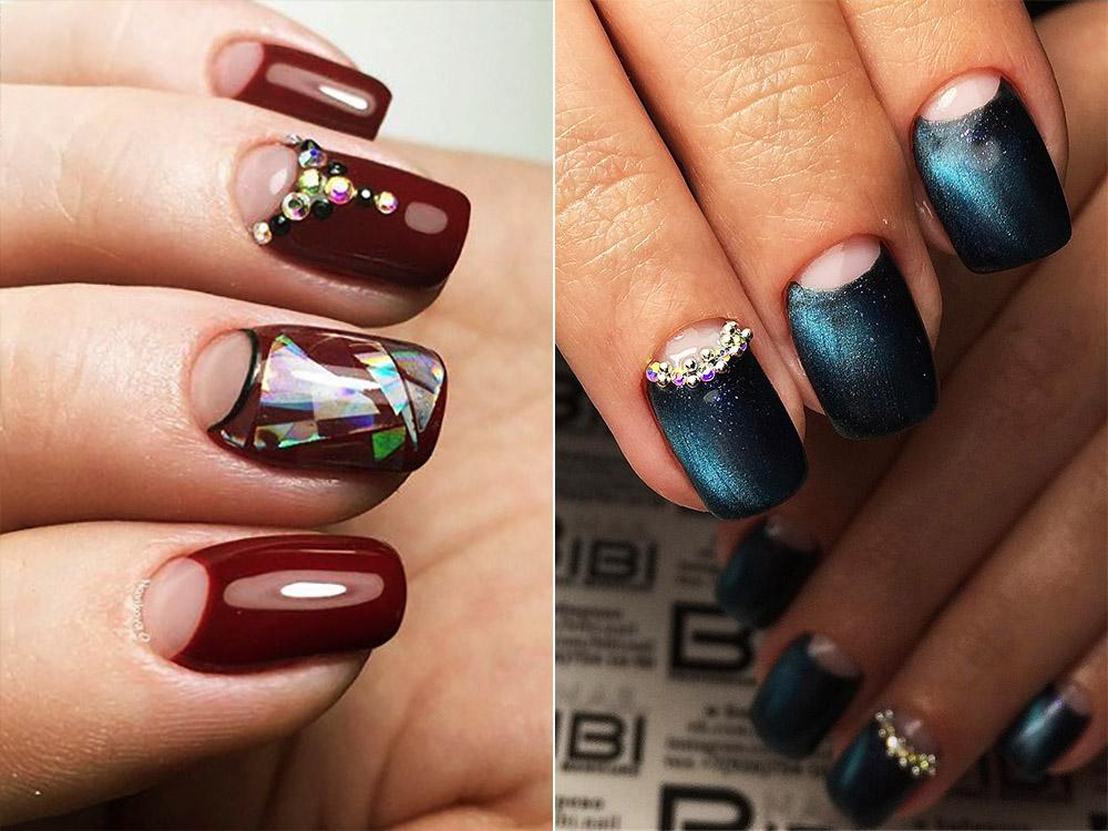 Совмещенный дизайн ногтей на Новый год