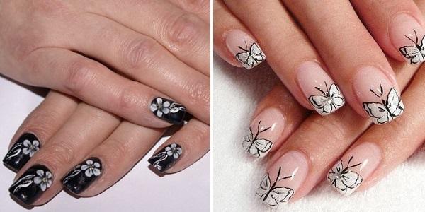 Рисунок на ногтях, цветок, бабочка