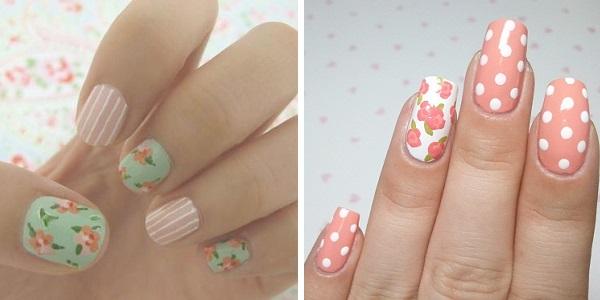 Цветы на ногтях в стиле винтаж