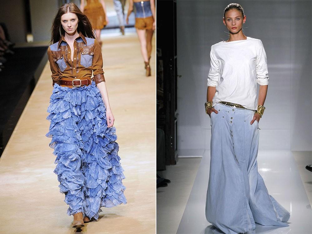 С чем носить джинсовую длинную юбку
