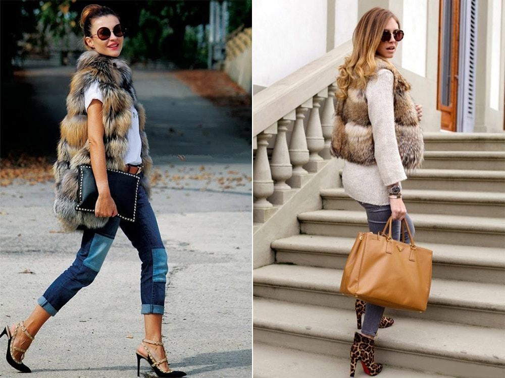 Меховая жилетка и джинсы