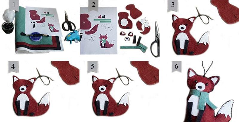 Схема пошива лисички из фетра на елку
