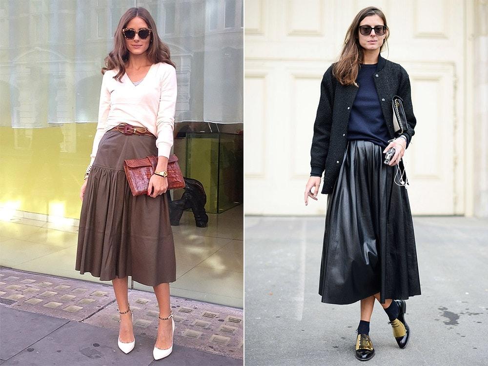 С чем носить длинную юбку из кожи