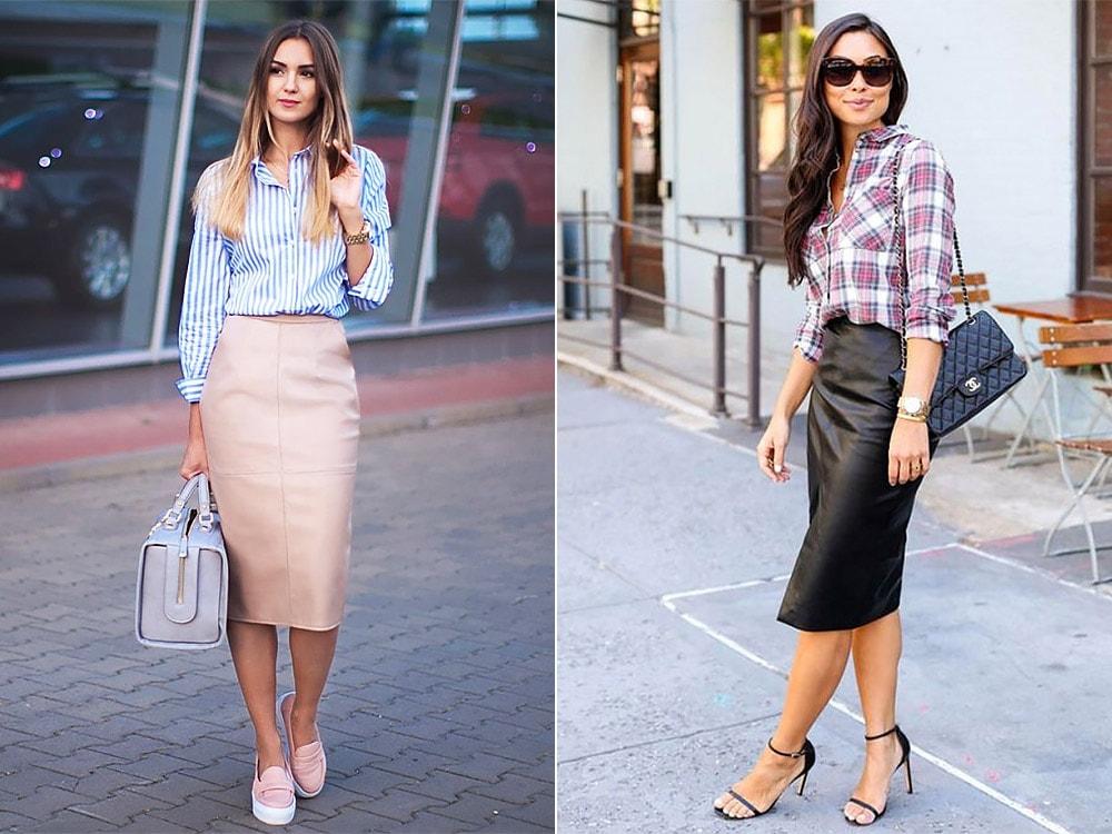 С чем носить кожаную юбку: деловой стиль