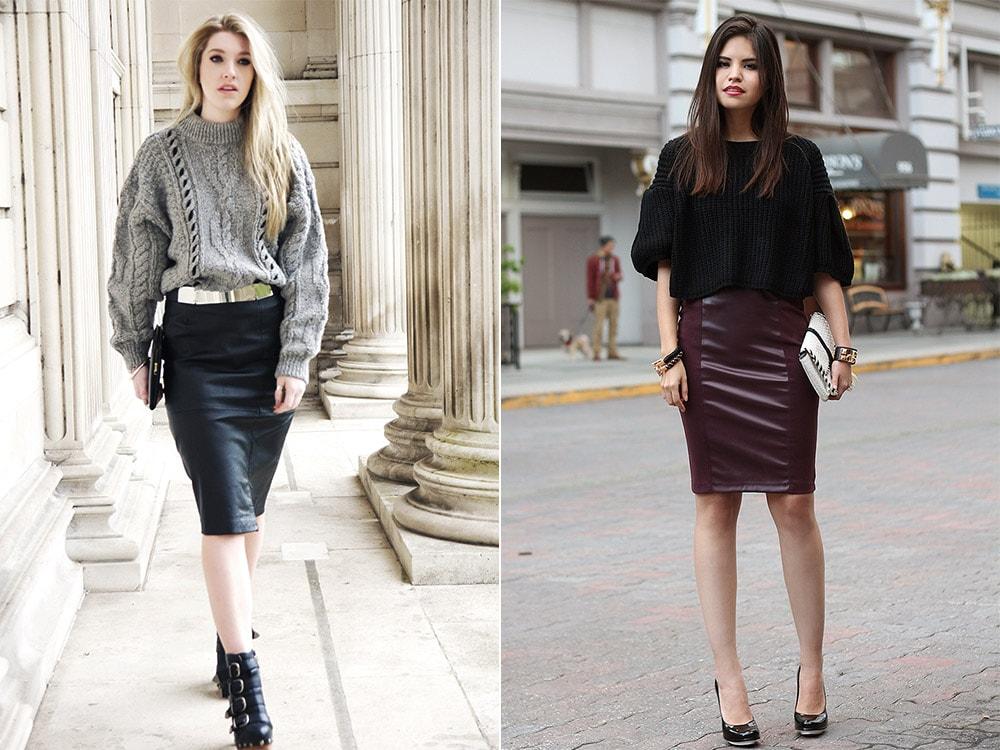 С чем носить кожаную юбку полным девушкам