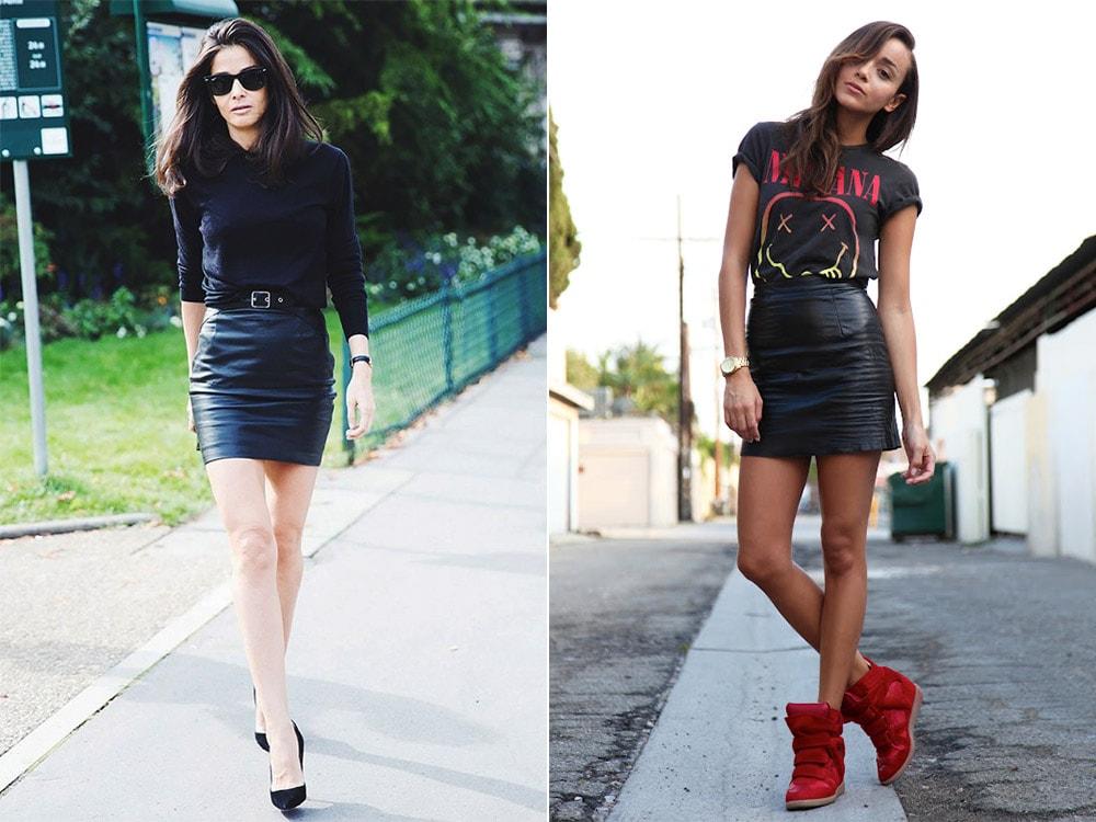 ca84bd52ae6 С чем носить кожаную юбку относительно ее фасона