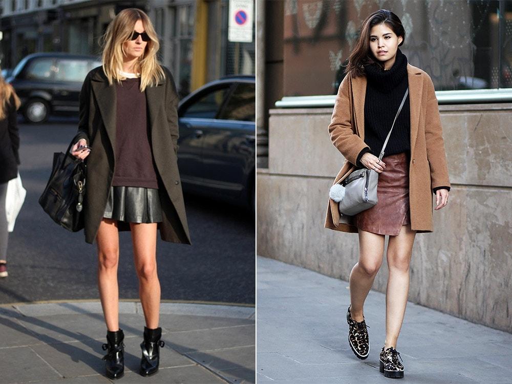 С чем носить юбку из кожи зимой