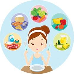 Много здоровой пищи
