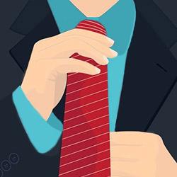 Поправляет галстук
