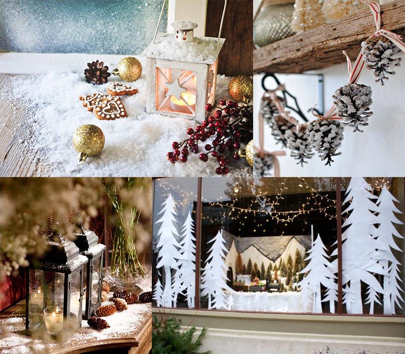 Украшение дома на Новый год трафаретами и искусственным снегом