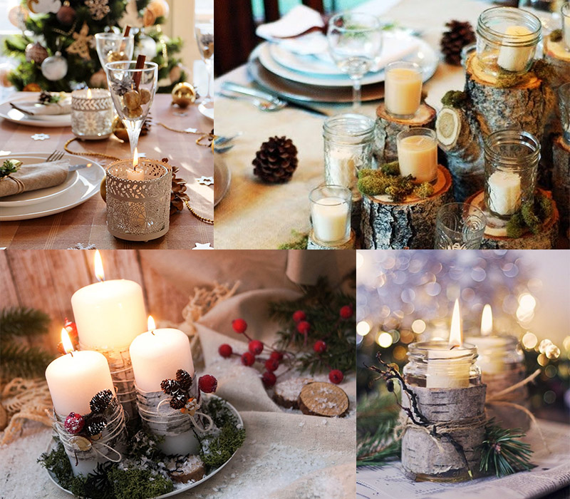 Украшение праздничного стола свечами