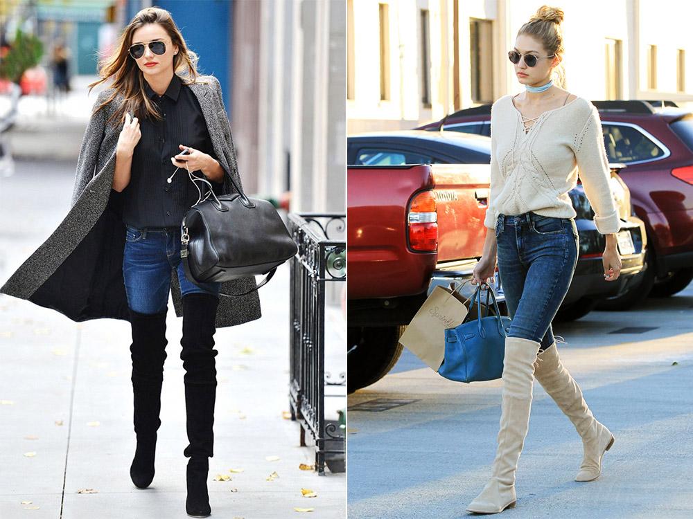 Ботфорты без каблука и джинсы