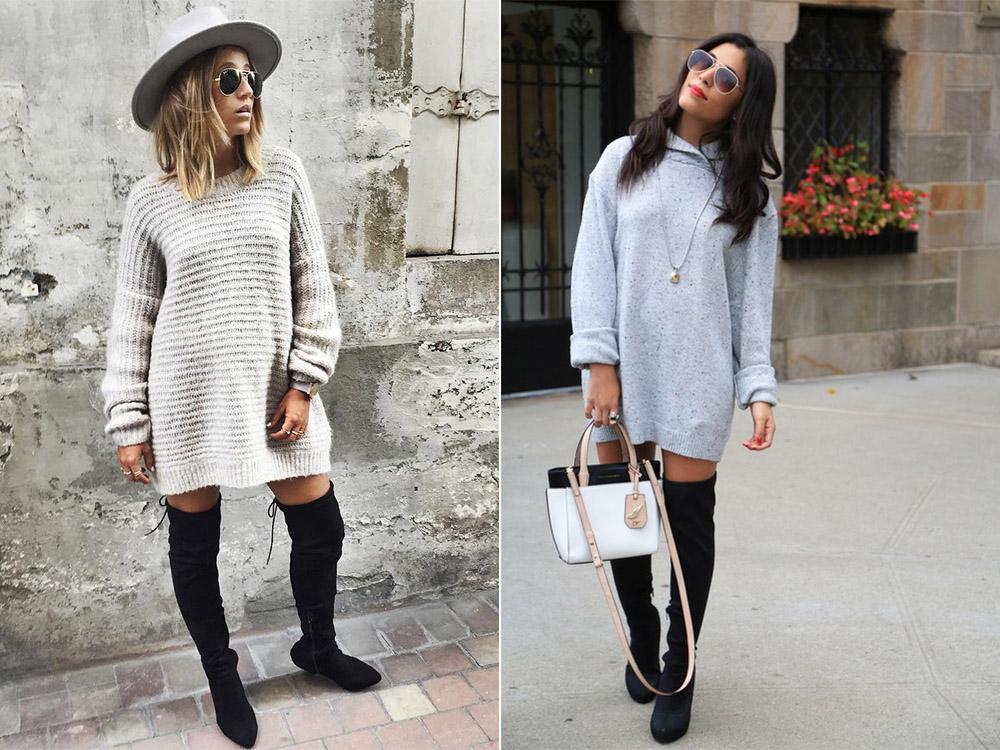 Ботфорты без каблука и платье-свитер