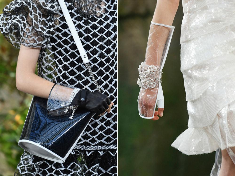 4762d7c2cf99 Самый модный вариант – перчатки из прозрачного материала. Кстати, одежда и  аксессуары из ПВХ, силикона и других видов пластика стали главным трендом  этого ...