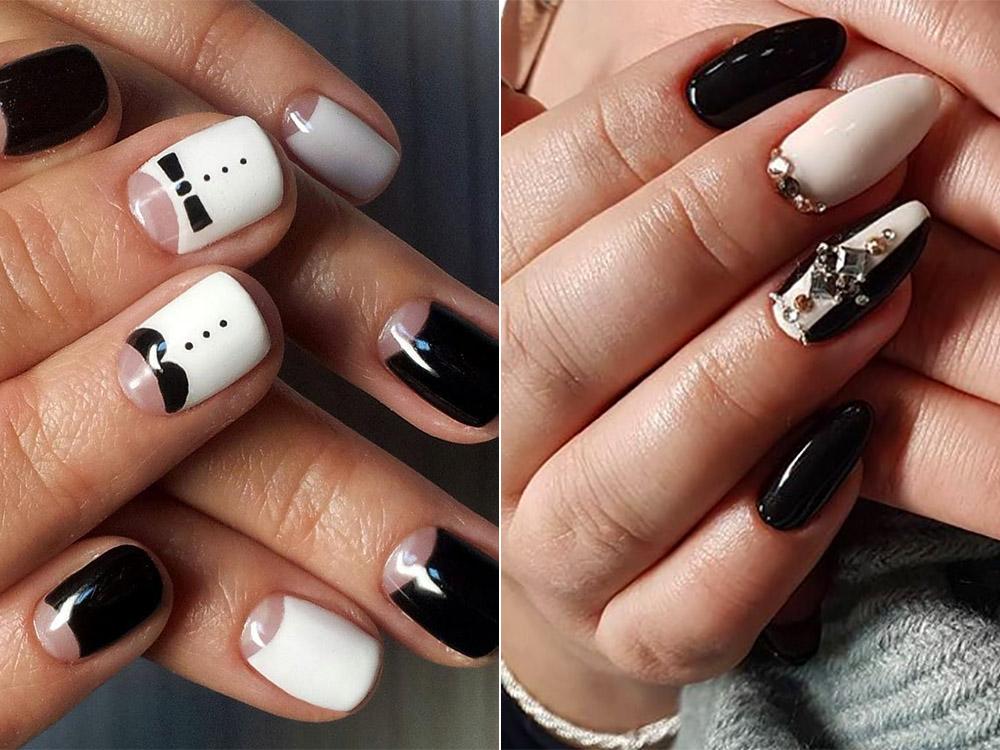 Черно-белый дизайн ногтей гель-лаком