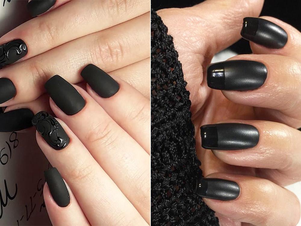 Черный матовый маникюр гель-лаком