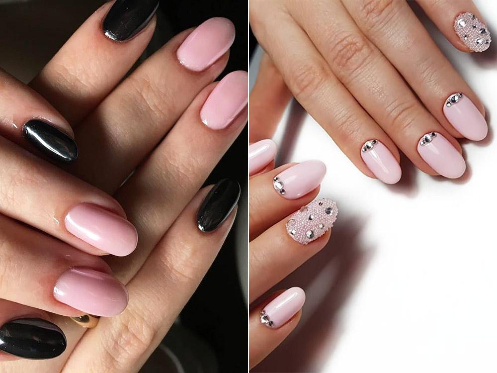Дизайн ногтей гель-лаком с акцентом на безымянный и средний палец