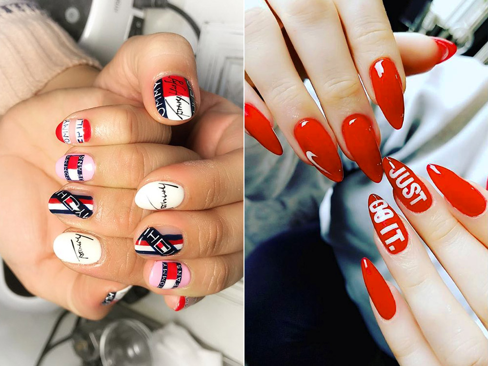 Дизайн ногтей гель-лаком с логотипами