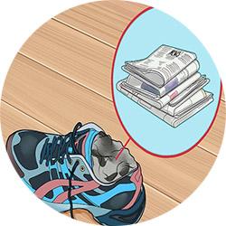 Растяжка обуви газетой
