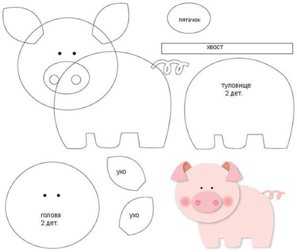 Схема выкройки свинки из фетра