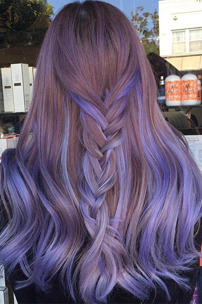Фиолетовое мелирование