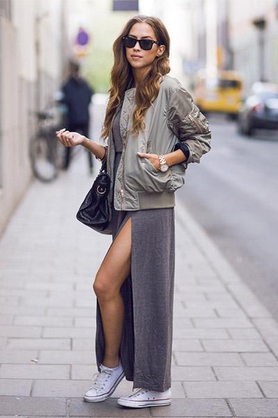 Бомбер и длинное платье