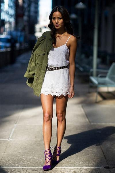 Парка с летним легким платьем