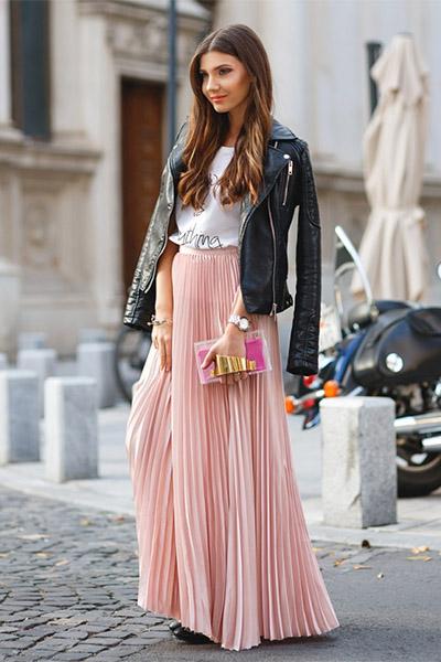 Плиссированная юбка с косухой