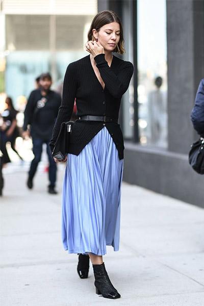Плиссированная юбка с кардиганом